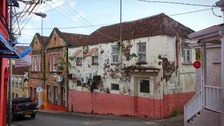 Houses with withered paint.
