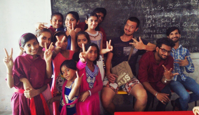 From left to right: Sumit, Vinaj, I and a dancing class.