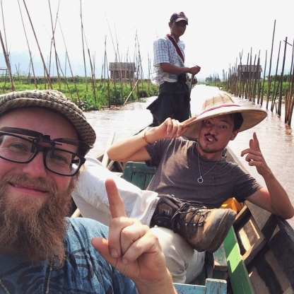 Dustin and I, ruising through the floating gardens.